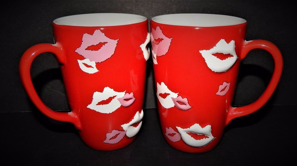 2 Lips Kisses Love Coffee Mugs Red White Pink Xpress Xpress Mugs Lip Kiss Love Red And White