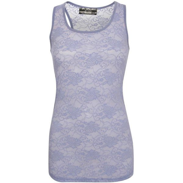 Pilot Floral Lace Print Vest Top ($12) ❤ liked on Polyvore featuring tops, denim blue, blue tank top, scoop neck tank, lace detail top, blue floral top and floral print tank top