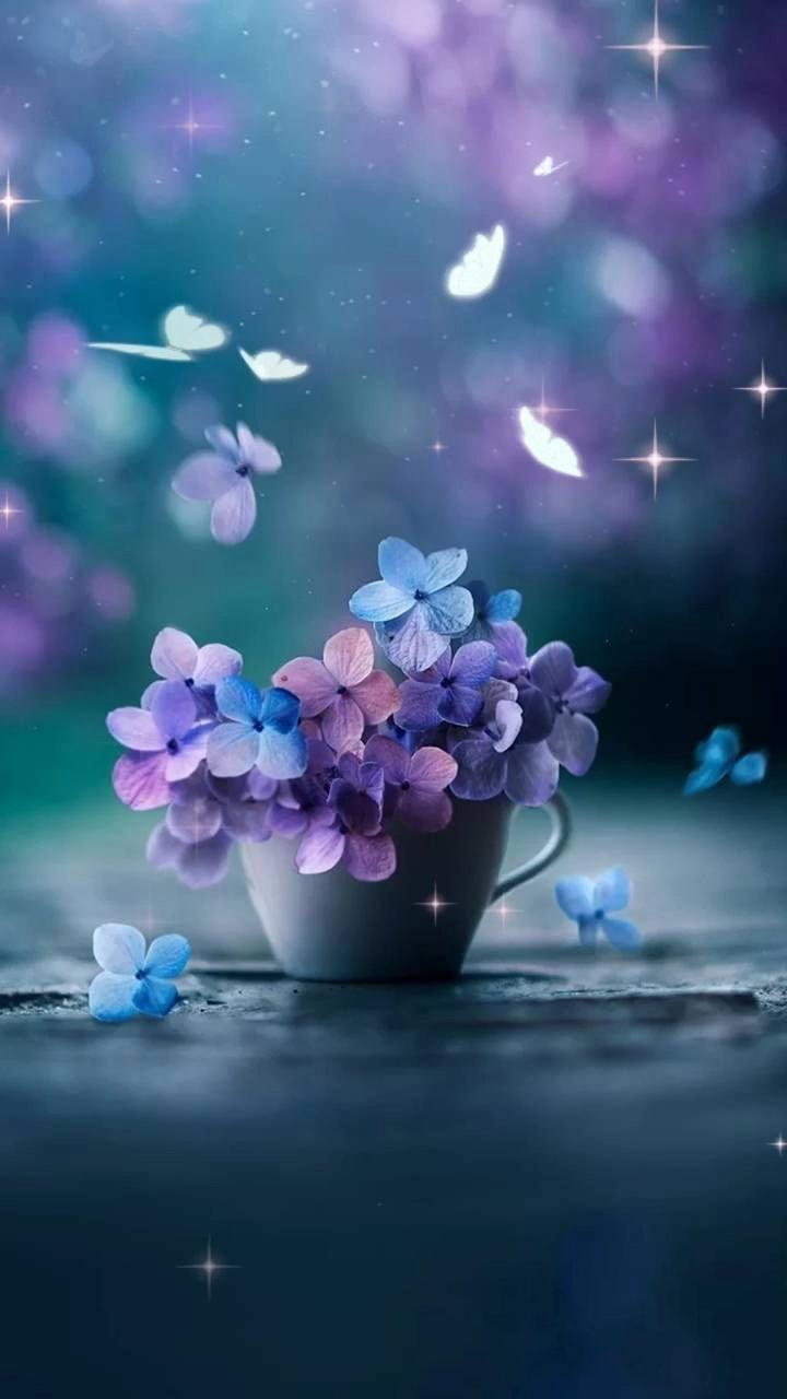 Обои для сториз чашка с цветами