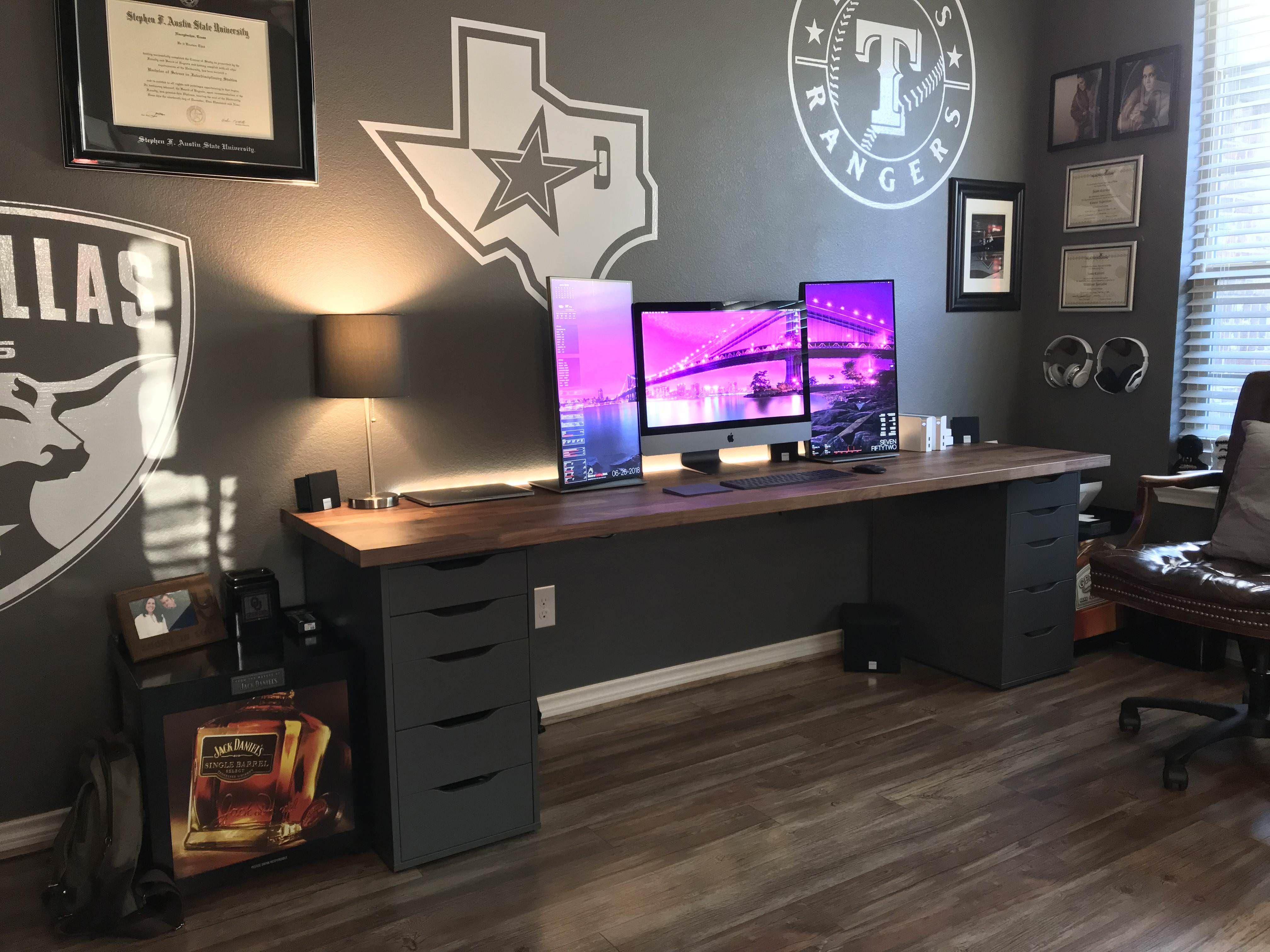 New Home Office Setup W Sag Proof Ikea Karlby Imac Pro Home