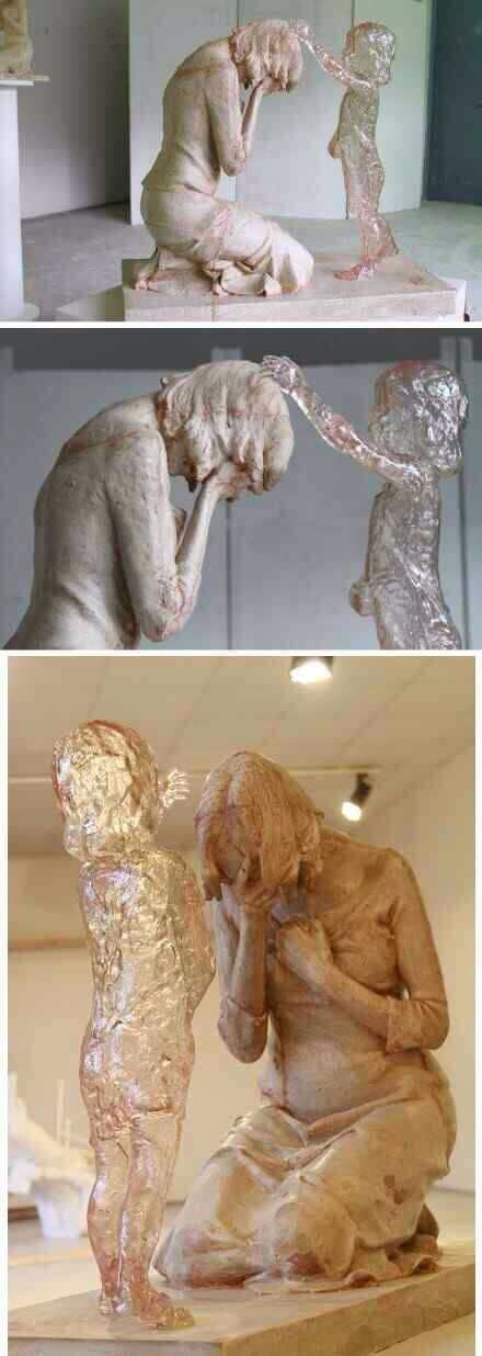 """Slovakia sculpture works of art students """"The Child Who was Never Born"""". (Abortion) Forgiveness & the focus on the guilt, grief & regret of the the mother. wow"""