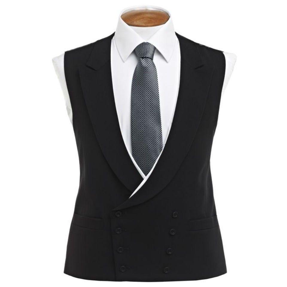 Double Breasted White Trimmed Waistcoats Waistcoat Black Waistcoat Big Men Fashion [ 960 x 960 Pixel ]