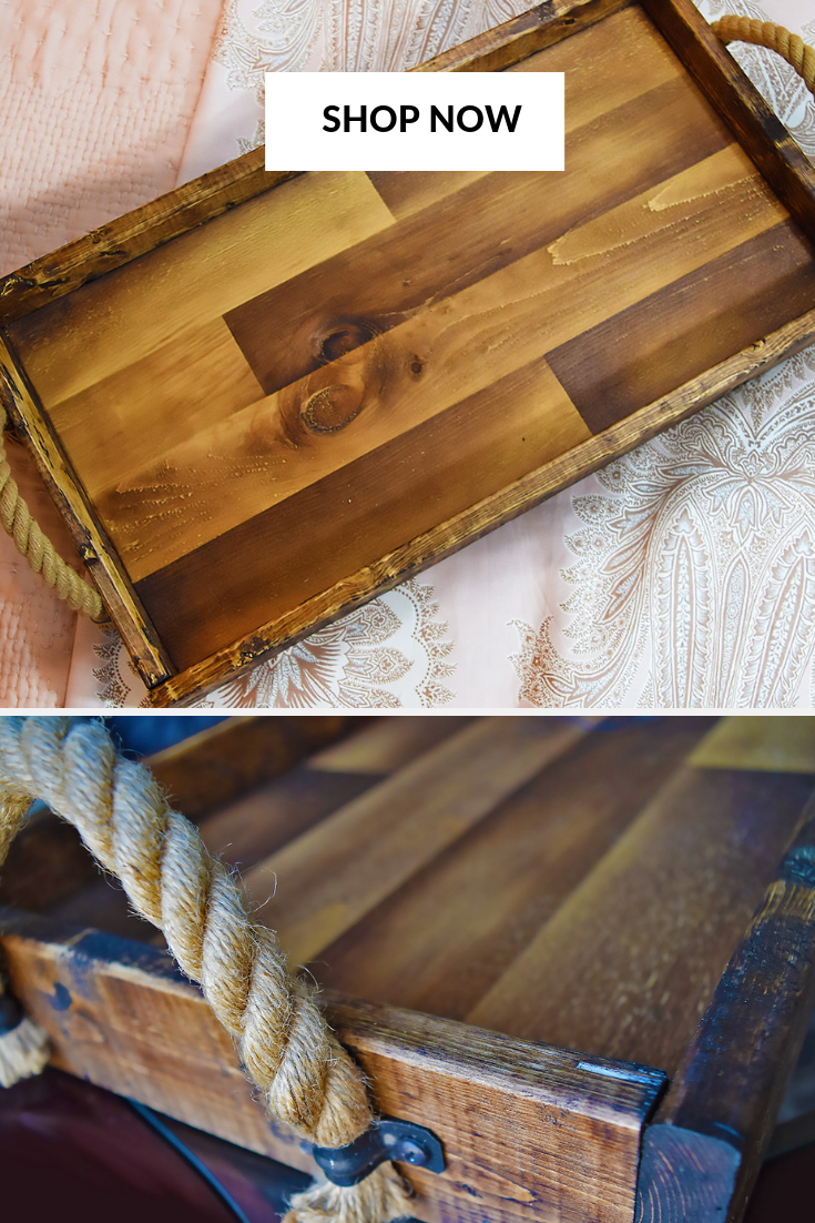 Rustic Wood Tray With Rope Handles Ottoman Tray Rustic Wooden Etsy Country Decor Rustic Wood Centerpieces Unique Farmhouse Decor