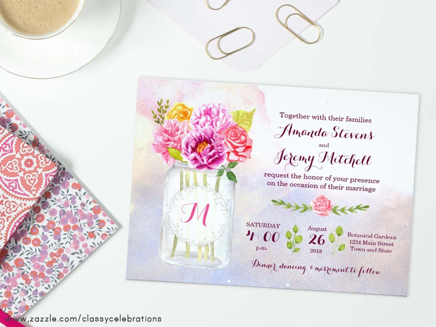 Watercolor flowers in a mason jar wedding invitation suite roses