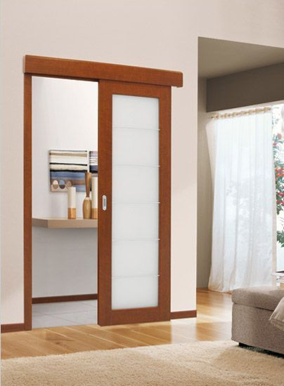 For The Master Bath Sliding Wood Interior Door With Frosted Glass