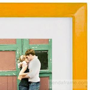 Orange glazed metal frame with white mat by Dennis Daniels ...
