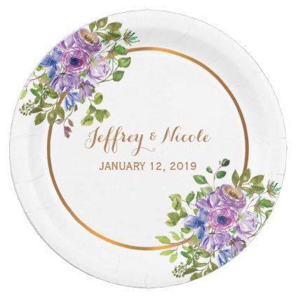 Spring Floral Flowers Purple Country Wedding Paper Plate floral