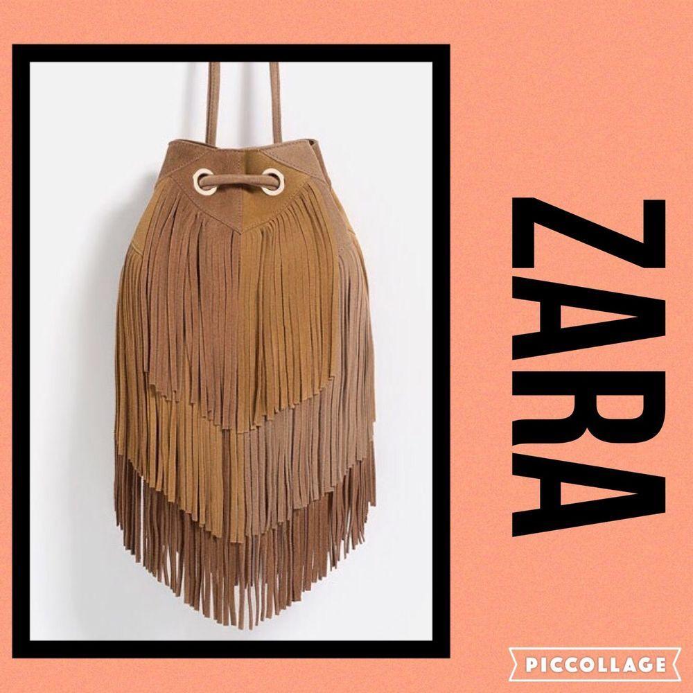 Zara Fringed Leather Bucket Bag | eBay