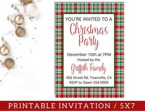 Plaid Christmas Party Invitation / PRINTABLE Christmas Party Invite