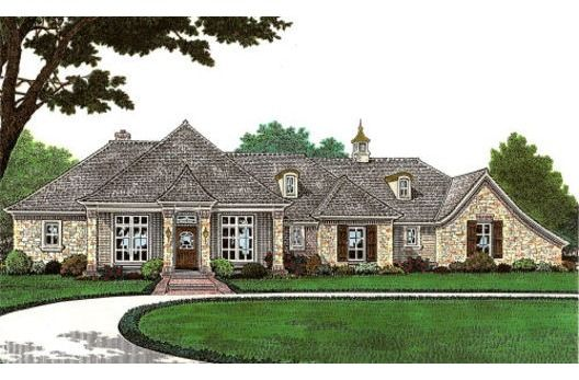 Single story french country house facade pinterest for Single story country house plans