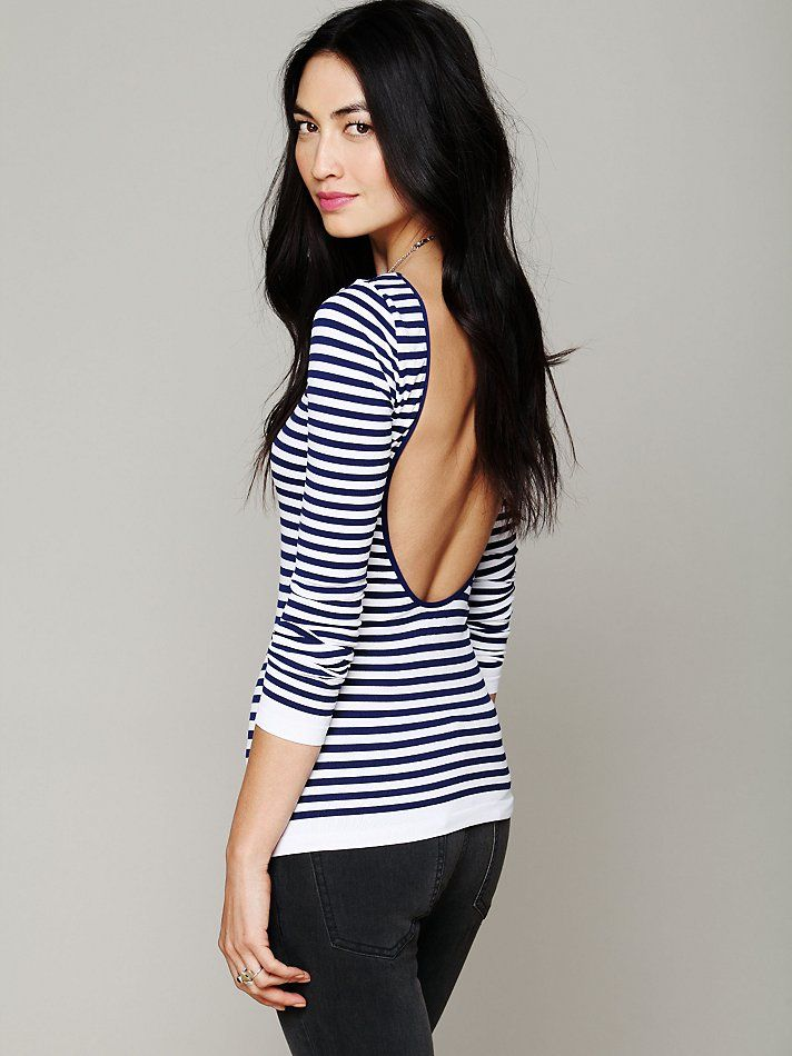 Free People Striped Low Back Top, $48.00