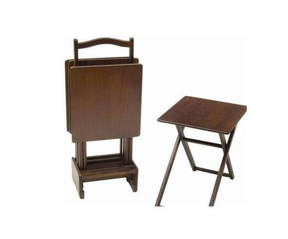 Adrasant Walnut Wood Folding TV Tray Table Set Of 4 Rectangle Coffee Table  Model