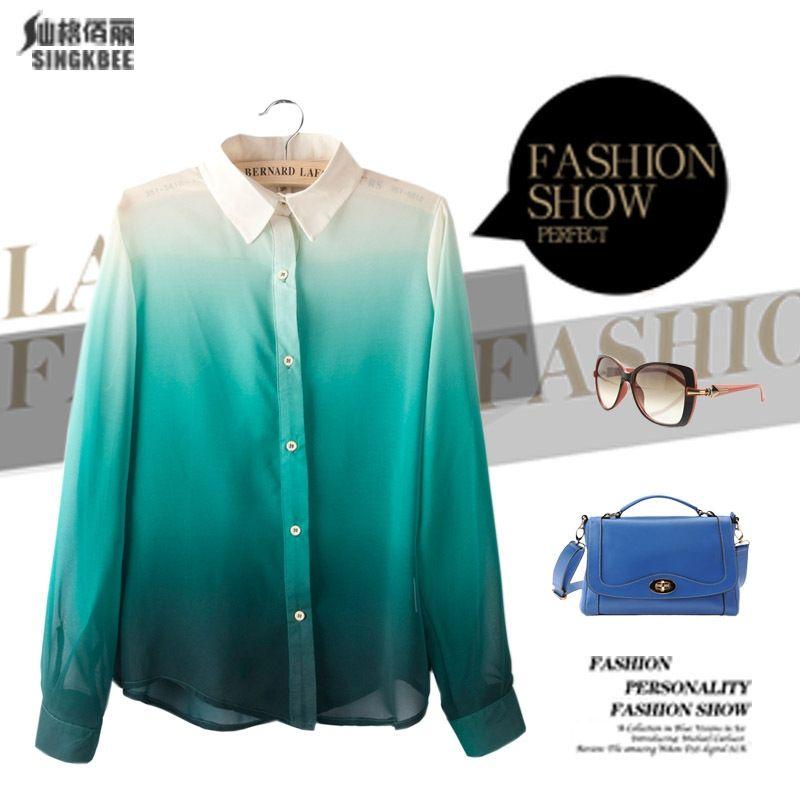European-Fashion-Women-Gradient-Blouse-font-b-Blue-b-font-Green-Gradient-Color-font-b-Shirt.jpg (800×800)