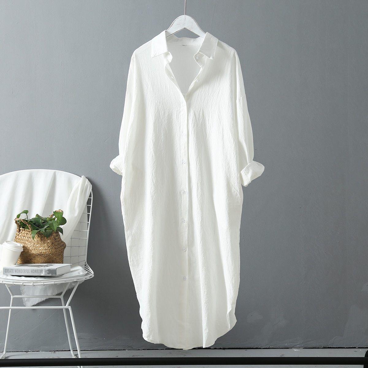 Eliana Long Sleeve Cotton Maxi Shirt Dress Maxi Shirt Dress Women White Blouse Fashion [ 1200 x 1200 Pixel ]