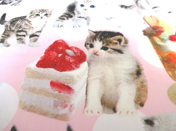 Japanese Fabric LECIEN Nyan Cat Made and  Sweets by Cawaiimart