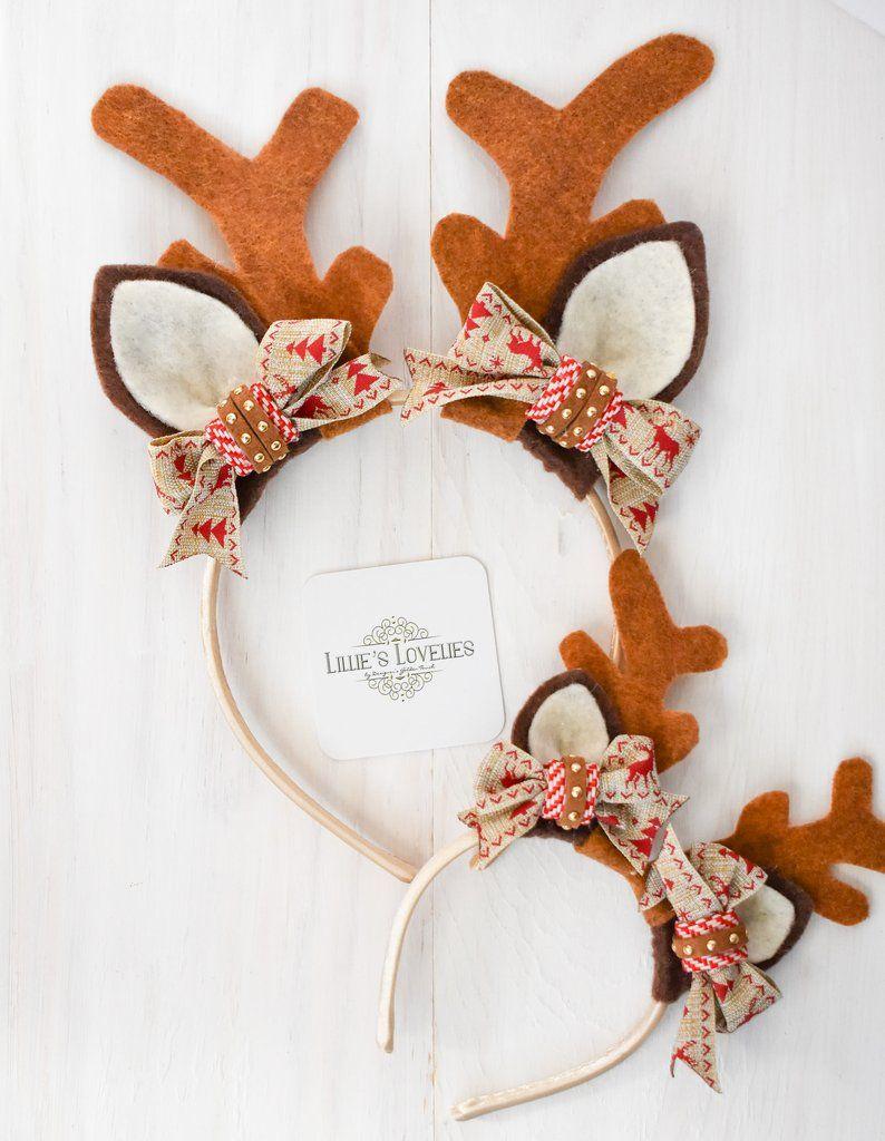 Red Felt Reindeer Antlers and Ears Alice Hair Band Headband Xmas Accessories