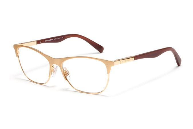 4ab1e75bb8c Women s gold metal and acetate eyeglasses with squared frame by Dolce    Gabbana dg-1246