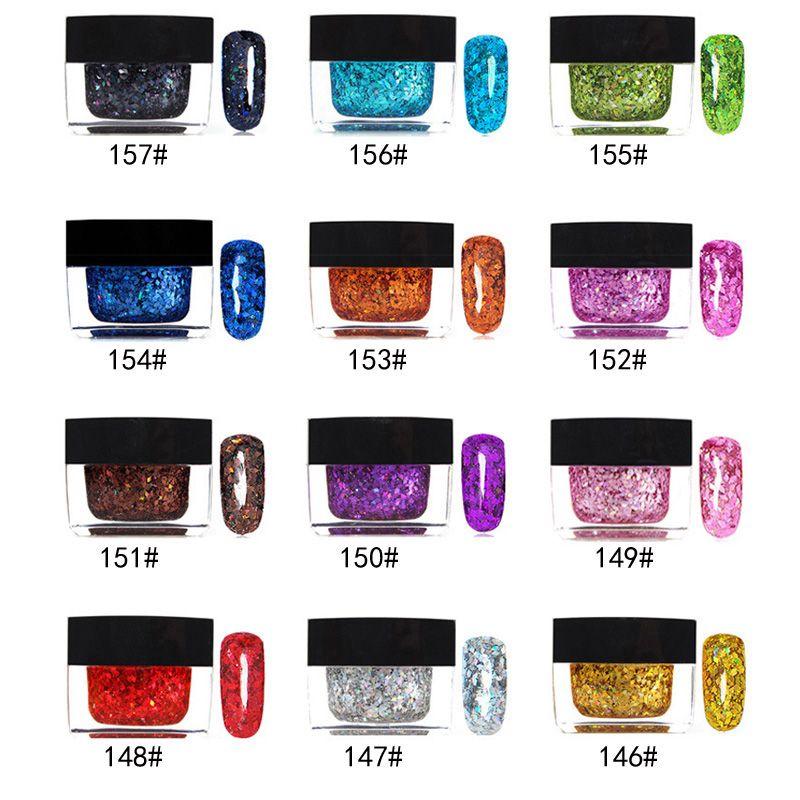3D 다채로운 12 색 UV 네일 젤 폴란드어 전문 네일 젤 아트 장식 도구 안료 반짝이 UV 젤 매니큐어