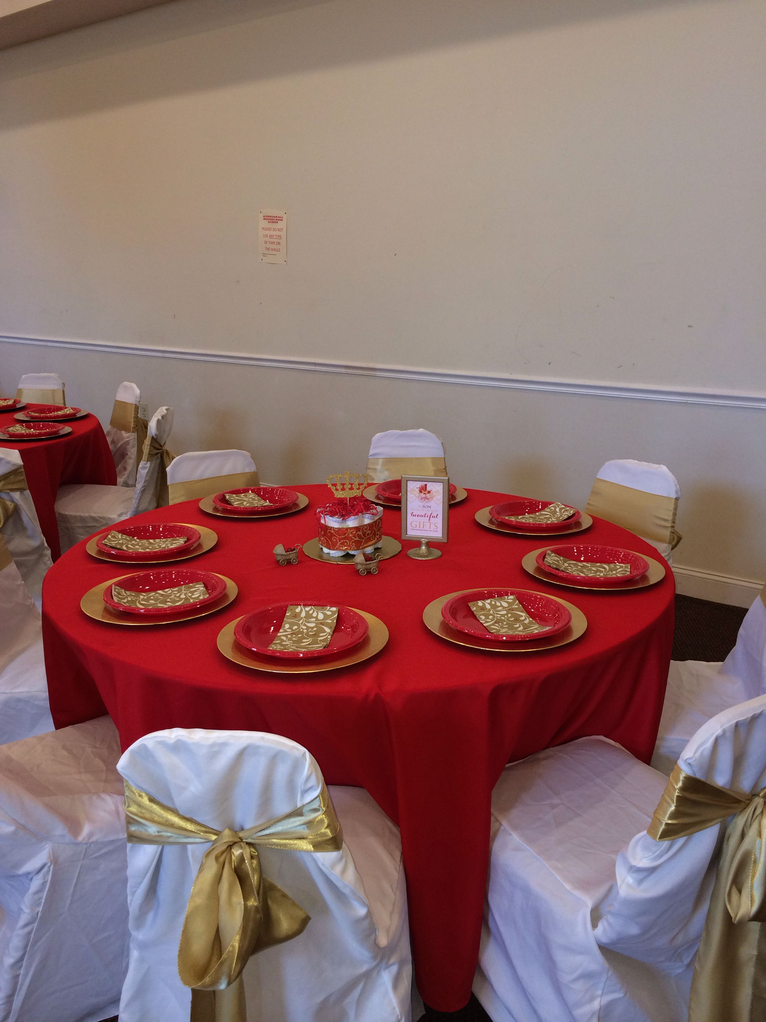 Prince Baby Shower Table Setup Red And Gold Ws Events Pinterest