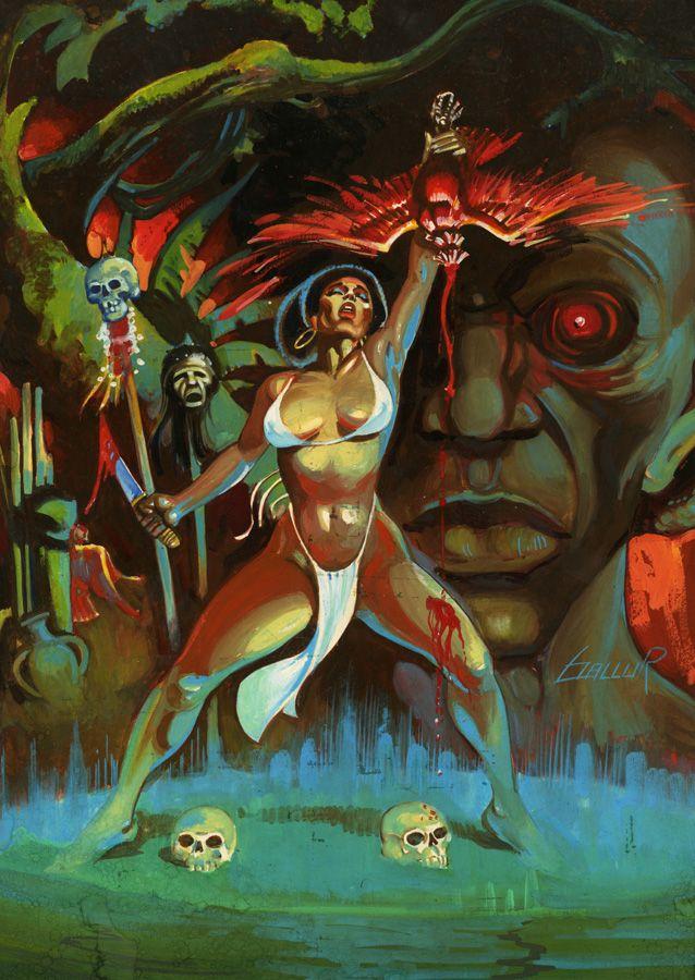 Mexican Pulp 1970s Original Sci Fi Illustration Art Gouache Black