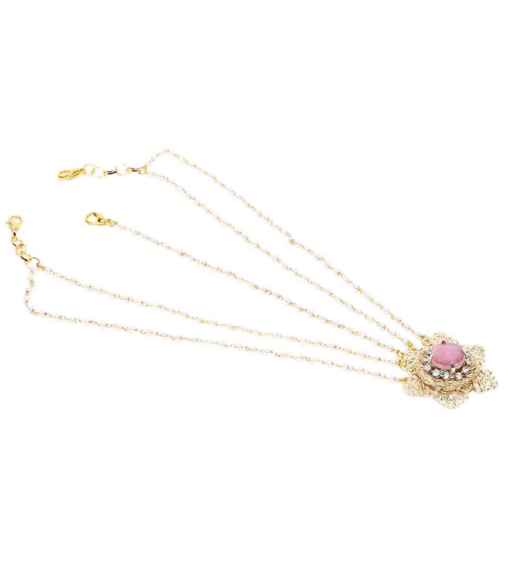 Golden & Pink Stone & Pearl Embellished Maang Tikka #indianroots #ethnicwear #jewellery #maangtikka #embellished #stone #pearl #occasionwear