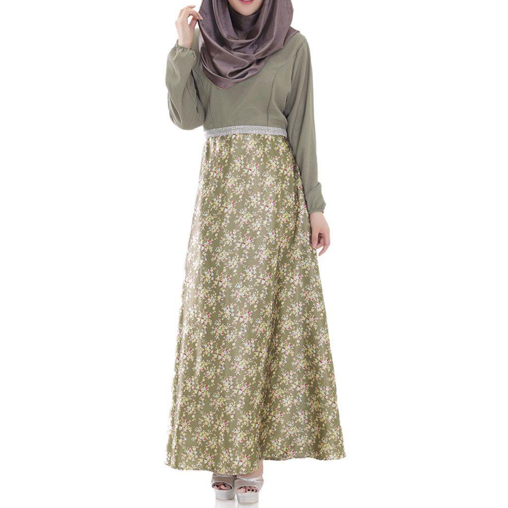 Muslim Long Dress Women Garments cyan L