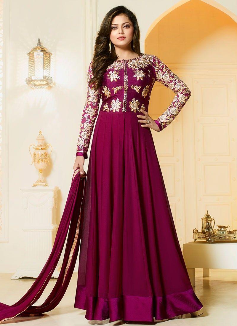 27ae1134d6 Shop Drashti Dhami magenta color georgette party wear salwar kameez online  at…