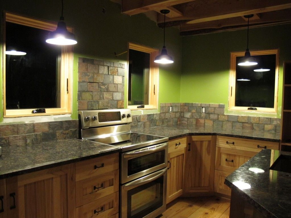 Green Corner Kitchen Design Ideas Rustic Rectangle Stacked Stone