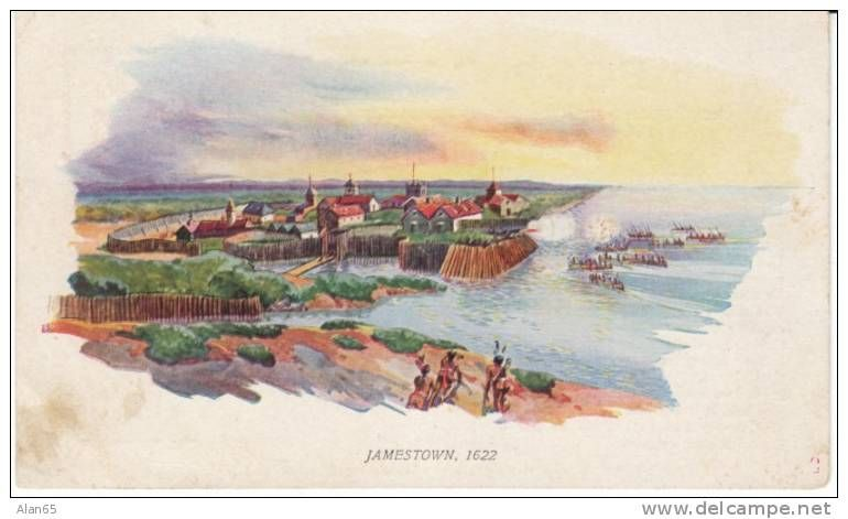 Jamestown Colony Virginia 1607, Early Scene with Indian Natives ...