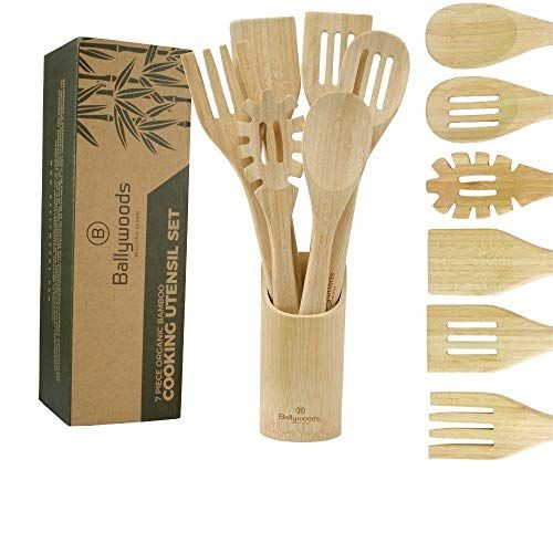 Organic Bamboo Utensils Unvarnished with BONUS Holder Spaghetti Spoon and eBook Wooden Sp