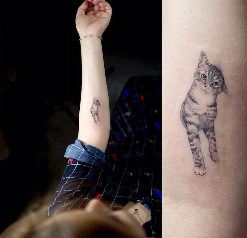 tatouage chat- signification, emplacement et modèles en styles