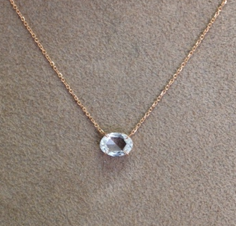 18k rose cut ovalshaped diamond pendant 20 rose gold chain