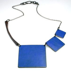 3 Square Necklace by Brittany Sondberg, sterling silver, copper, vitreous enamel, gunmetal.  Reversible - Harvest Blue  Brown! Available at Green Hill Center for NC Art for $88, info@greenhillcenter.org or come by!