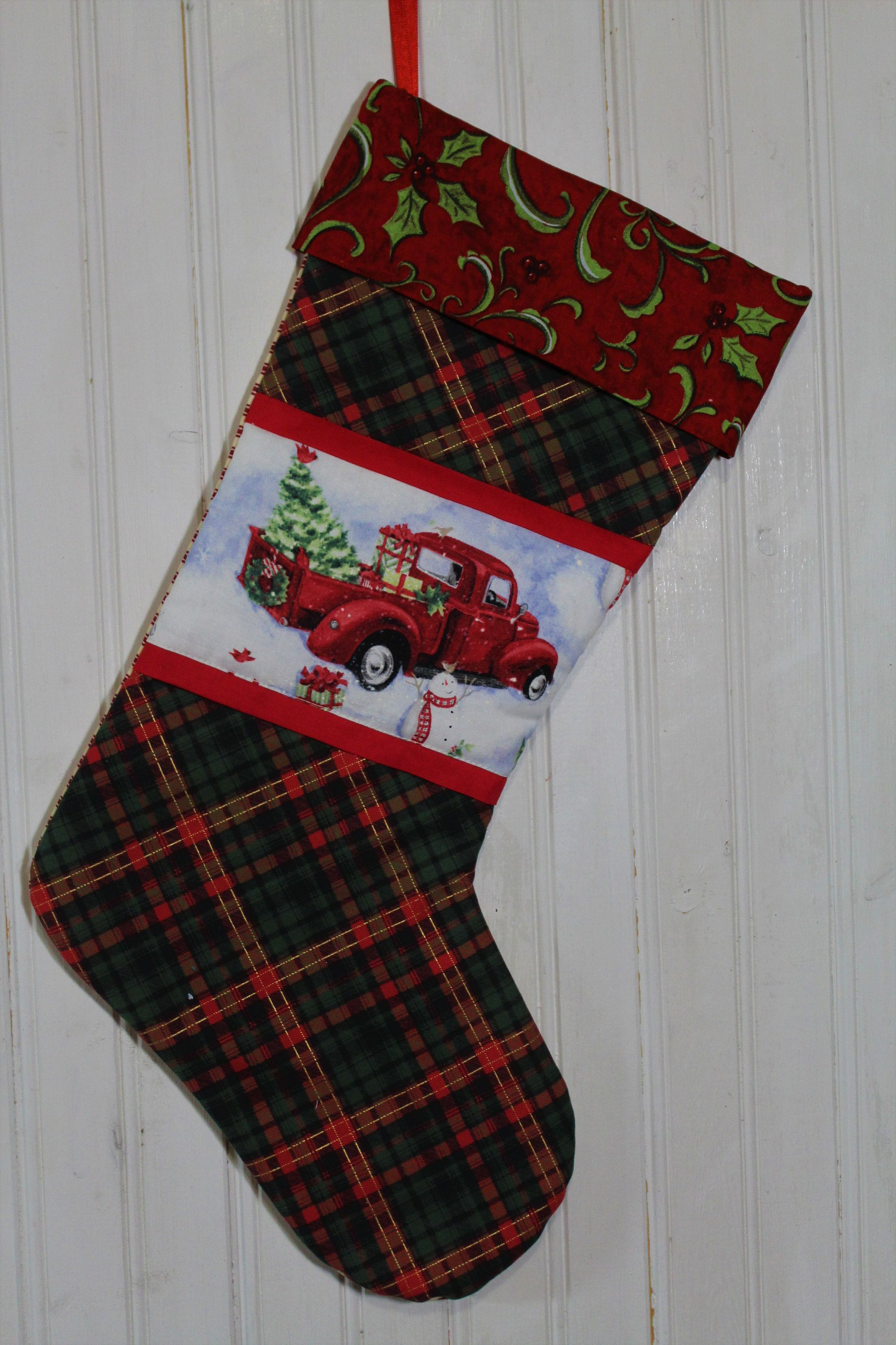 Red Truck Christmas Stocking - Quilted Christmas Stocking - Gift ...