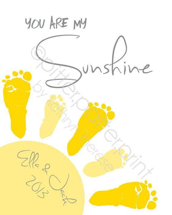 Sibling, Twin You Are My Sunshine Wall Art Print, Baby Footprint Sun ...