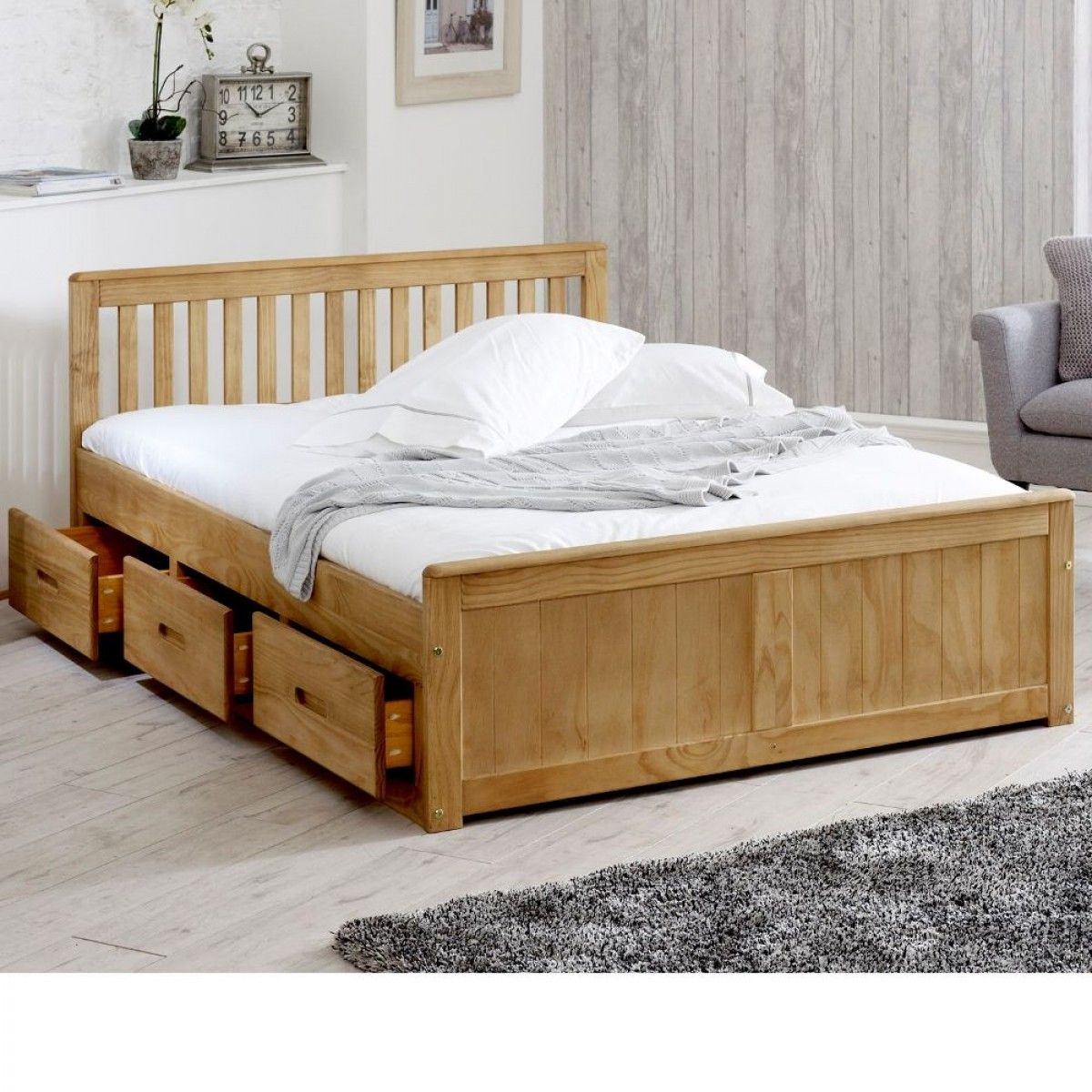 Mission Waxed Pine Wooden Storage Bed Wooden Bed With Storage