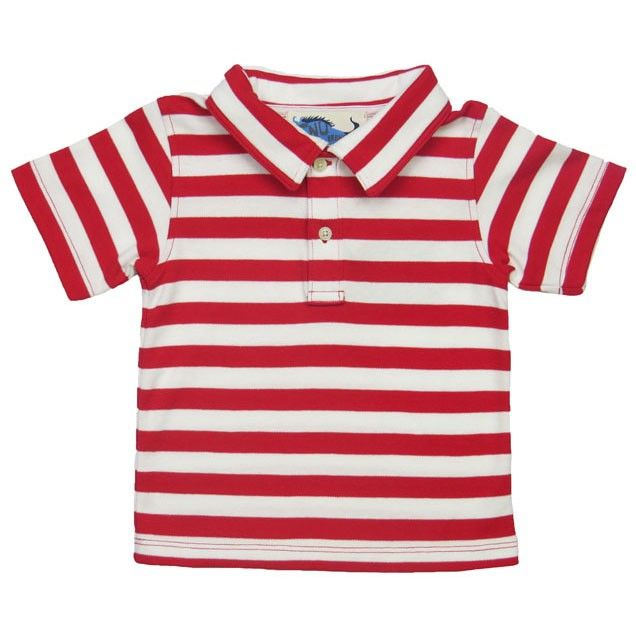 Boys Red & White Stripe Polo Shirt - Baby Boy Tops - Boys - Little Chickie