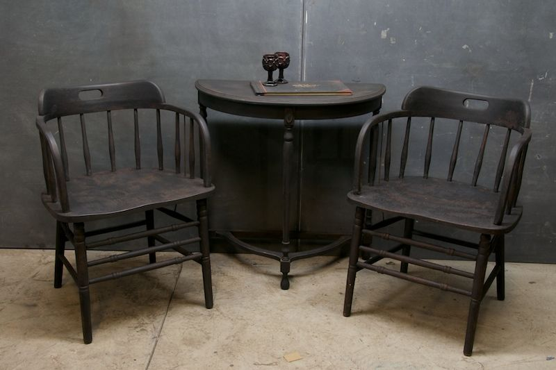 Early 20Th Century Deck Captain Chairsspindled Barrel Back Mesmerizing Captain Chairs For Dining Room Decorating Inspiration