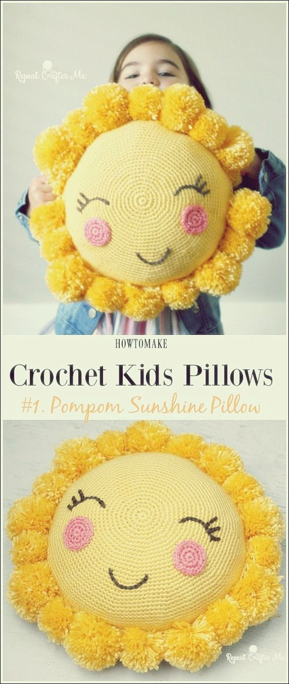 Fun Crochet Kids Pillows Free Pattern | Modèles gratuits   – Free Patterns – Stricken
