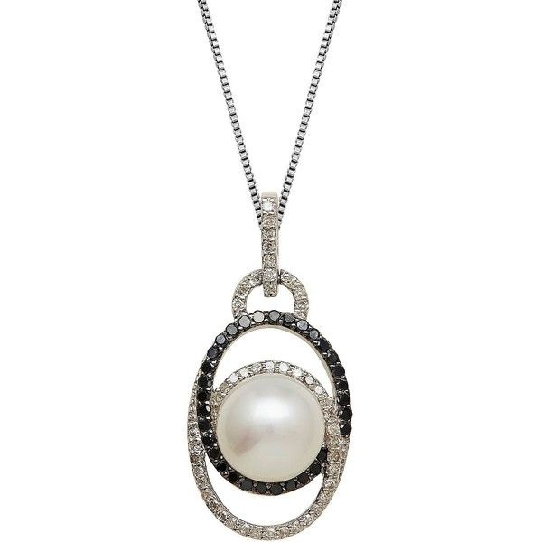 Lord & Taylor Sterling Silver Pearl & Pendant Necklace ($350) ❤ liked on Polyvore