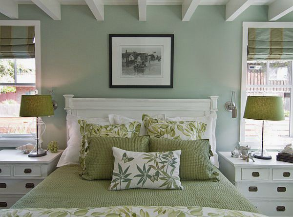 Charming green bedroom decorating ideas for the home pinterest green bedrooms bedrooms Master bedroom with green walls