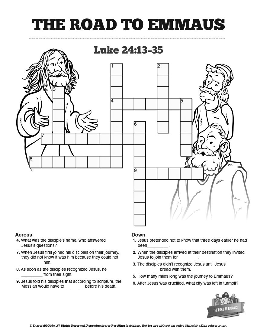 Luke 24 Road to Emmaus Sunday School Crossword Puzzles