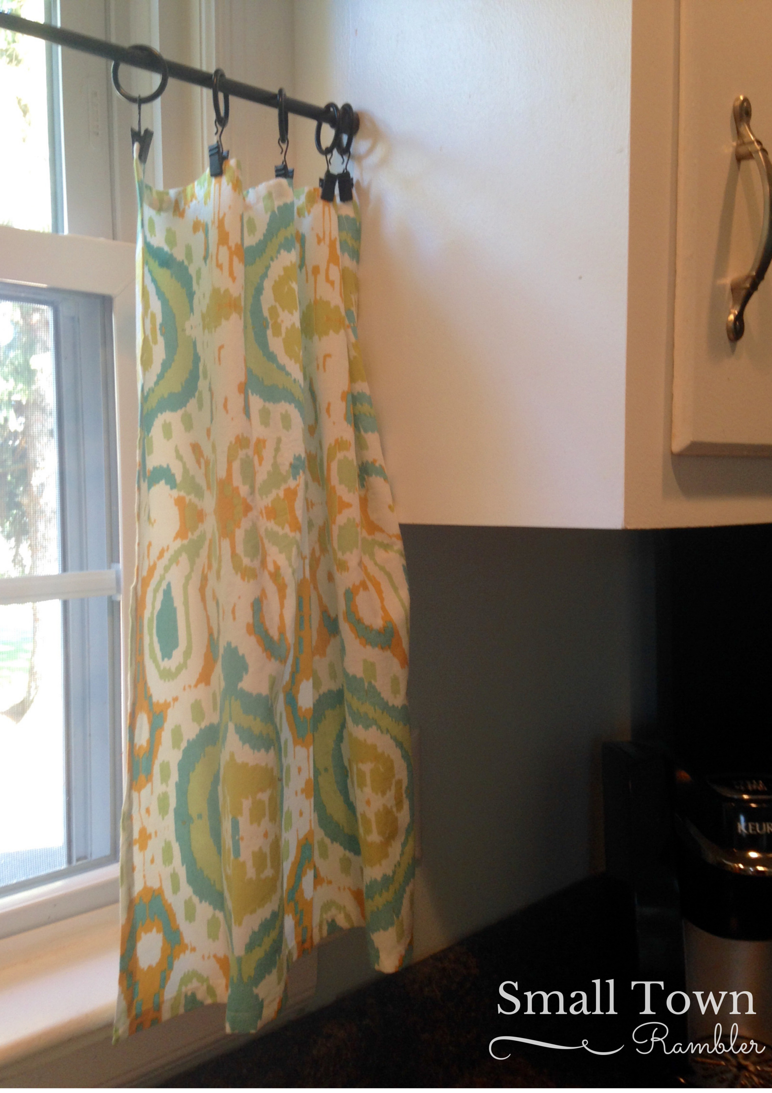 Napkins From World Market Added To Curtain Clips And Tension Rod For Cafe Curtains In Kitchen Window