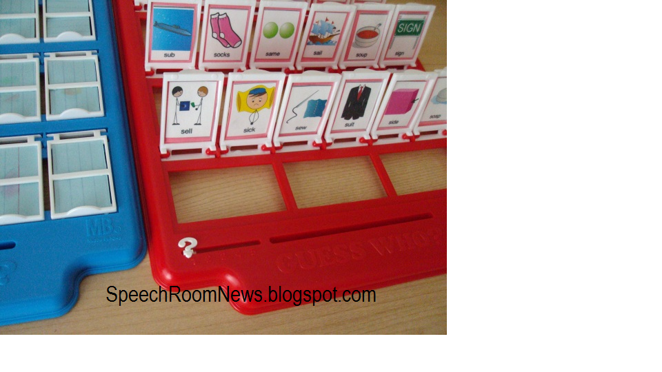 Speech Room News: Guess Who Articulation    Materials Needed: Guess Who? game, cards to put in squares with words that contain the target phoneme in various positions