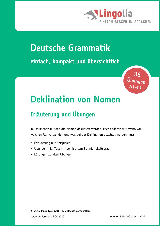 Deklination Von Nomen Unterrichtsmaterial In Den Fachern Daz Daf Deutsch Reflexive Verben Verben Satzbau