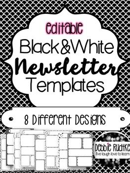 black and white newsletter templates editable beginning of the
