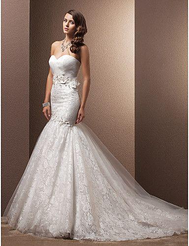 vestido de novia marfil ajustado y ancho encaje y organza @ vestidos