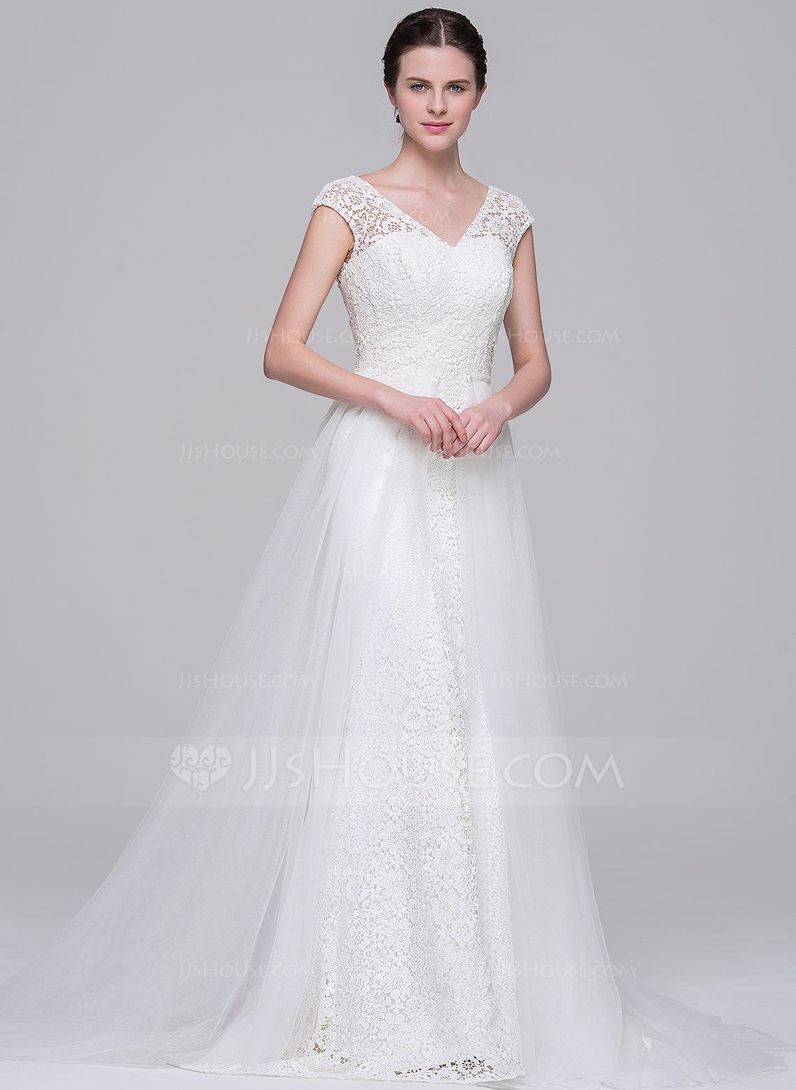 Lace wedding dress with train  ALinePrincess Vneck Court Train Detachable Tulle Lace Wedding