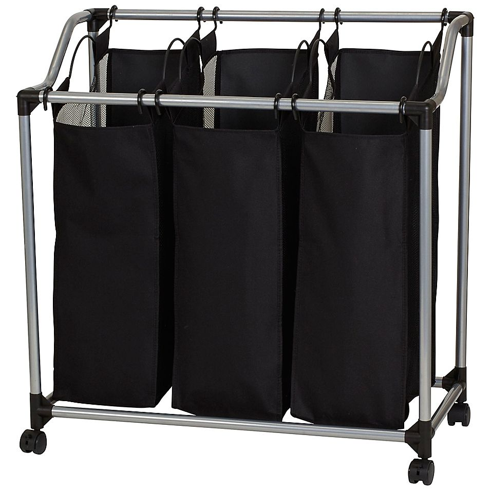Household Essentials Rolling Triple Laundry Sorter With Vented