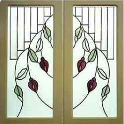 Leaded Glass Inserts Kitchen Cabinet Doors
